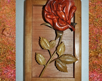 Decorative IntarsiaRose Wall Hanging - Depth Carved