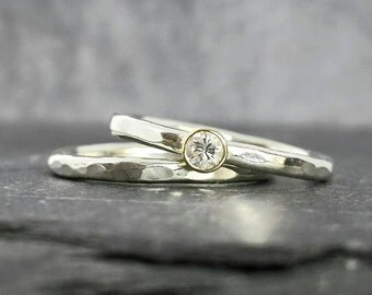 Precious Twinkle - 9ct white & yellow bezel set 3mm conflict free diamond engagement ring, handmade, UK
