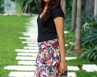 ON SALE 20% Floral Skirt / Flowy Skirt / Purple Mini Skirt with Sash / Spring Fashion Skirt / Ready to Ship