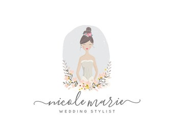 Premade Photography Portrait Logo, Wedding Character Illustration Logo Design, Stylist and event planning logo 345