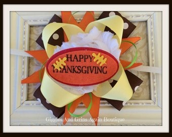 Happy Thanksgiving  Over the Top Hair Bow Includes Either Skinny  or Crochet Headband