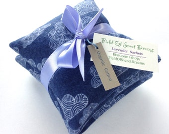 Organic Cotton Flannel Sachets Filled with Organic Lavender