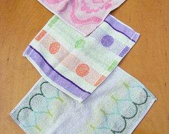 Vintage Washcloth Set, 3 Washcloths, Pastel Colored Wash Cloth Set
