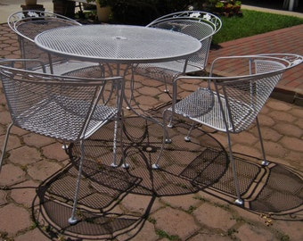 Vintage Salterini Woodard iron patio set dining table and 4 chairs flower motif