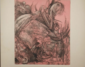 Vintage etching titled kissing signed surreal abstract