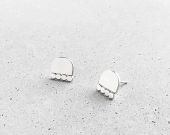 Cairn Studs / sterling silver / medium post earrings / modern architectural jewelry
