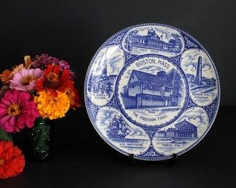 Vintage Boston Mass Souvenir Plate Featuring Historical Landmarks Massachusetts MA