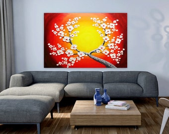 Oil painting white flower Blooming Tree Heavy Palette Knife.
