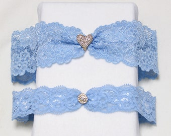 Blue garter set, crystal heart garter, blue lace garters, Jewerly garter set, Something blue garter, blue garter set