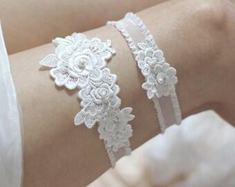 Rose lace garter set, bridal garter set, pearl garter set, wedding garter set, lace garter set