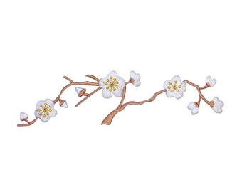 ID 6778 White Flowering Tree Branch Patch Pretty Nature Decor Iron-On Applique