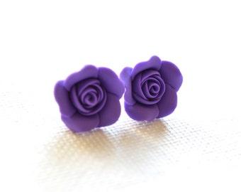 Amethyst Rose Post Earrings. Purple Rose Stud Earrings. Purple Rose Jewelry.