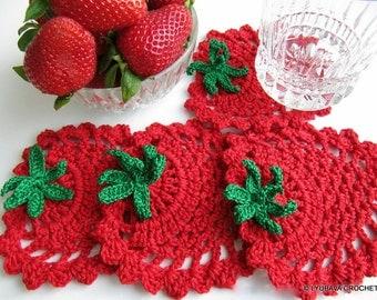 Crochet PATTERN Strawberry Coasters, Spring Summer Crochet Home Decor DIY Gifts, Instant Download PDF Pattern No.41 by Lyubava Crochet