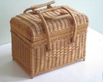 Vintage Dome Top Wicker Basket