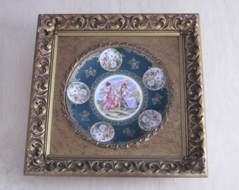 Antique Ornate Gold Gilt Framed Green China Charger with Women and Angels Cherubs