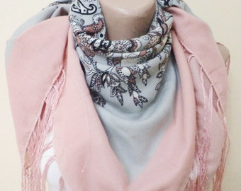 Tassel Scarf, Women Shawl, For Her Gifts, Unique Scarf, Scarves, Neckwarmer, Square Scarf, Autumn Gift