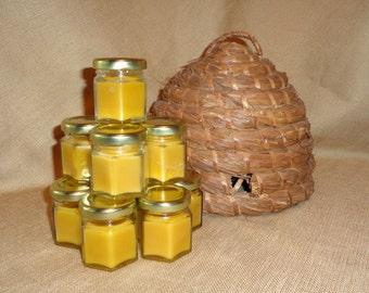 Set of 12 Mini Hex Jar Tea Light Beeswax Candles