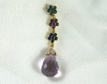18 Karat Yellow Gold Amethyst, Green Garnet, Ruby, Blue Sapphire, Yellow Sapphire and Diamond Pendant; Amethyst Briolette Pendant