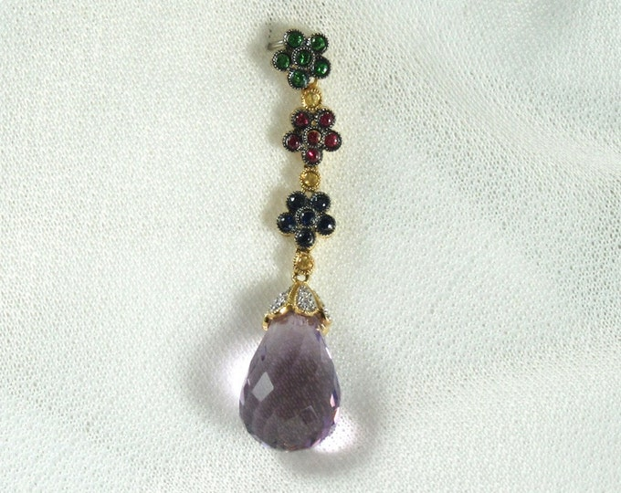 18 Karat Yellow Gold Amethyst, Green Garnet, Ruby, Blue Sapphire, Yellow Sapphire and Diamond Pendant; Amethyst Briolette Pendant