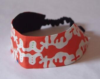 """Headband made with original fabric """"Suika-suika"""" orange"""