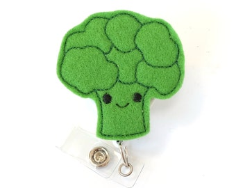 Broccoli - Dietitian Badge Holder - Cute Badge Reel - Unique Retractable ID Badge Holder - Felt Badge Reel - Dietician Gift - BadgeBlooms