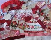Red Stripe Valentine Jumbo Vintage Inspiration Kit - 167 Pieces - Antique Paper Ephemera, Ribbons, Trims, Supplies - Scrapbooking, Collage