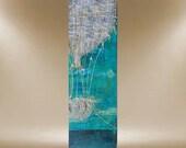 hot air balloon textured original painting art teal blues 36x12 FREE SHIP