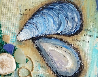 "Seashell Canvas Art | Mussel Shell Painting | Ocean Art | Beach Decor | 6x6 | ""Beachcombed"" Series No.2 