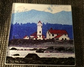 "Glass Coaster - Lighthouse 4.25"" x 4.25"""