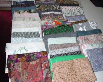 No. 400 . . . 64 Total Vintage Cotton Calico Fabrics Ranging in Sizes (See Below)