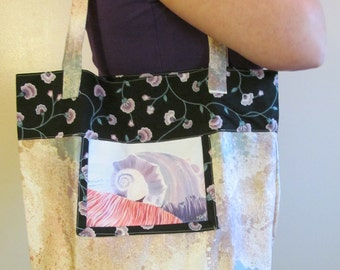Acrylic shells are printed on eclectic tote bag