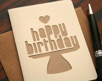Modern Happy Birthday Greeting Card Love (Blank Inside) Ivory & Kraft Cut Design