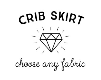 "Crib Skirt in Any Print. 13"" Drop on Linen Cotton Canvas. Custom Crib Skirt. Baby Bedding. Crib Bedding. Crib Skirt Boy. Crib Skirt Girl."