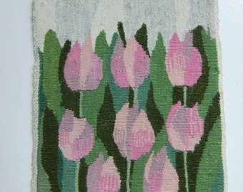 Vintage Swedish hand woven Flemish weave wall hanging - Pink tulips