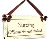 Nursing Please do not disturb / Nursing Room Available -  beige and brown dots two sided door hanger - SD53