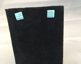 Zuni Sterling Silver with Turquoise Inlay Post Earrings