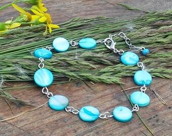Beaded Bracelet. Sky Blue Bracelet, Shell Tablet Beads Bracelet,  Shell Bracelet, Shell Jewelry,  Beach Jewelry