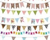 70% Sale Bunting Flag Banner Digtal Clipart - Flag Banner Scrapbook , card design, invitations, web design - INSTANT DOWNLOAD