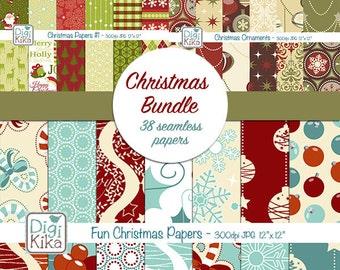 Christmas Digital Papers Bundle - Christmas Seamless Papers - Christmas Background - Christmas Bundle - Instant Download
