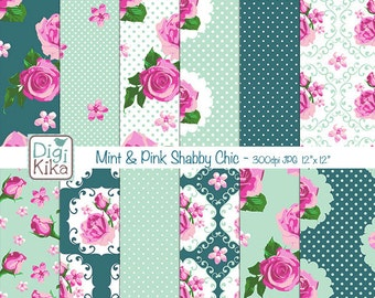 Pink and Mint Shabby Chic Digital Papers, Shabby Chic Scrapbook Papers - design, invitations, paper craft - INSTANT DOWNLOAD