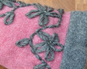 Pink and grey  cashmere fingerless gloves