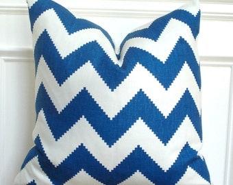 Chevron pillow cover, Blue and white decor, Coastal decor, Beachy decor, Blue and white throw pillow, linen chevron pillow cover - 20 x 20