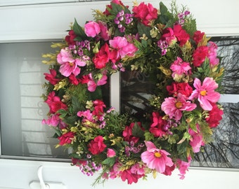 Pink Cosmos & Magenta Camellia Blossoms with Purple Wax Flower Wreath