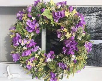 Lavender Hydrangea & Freesia with White and Yellow Accents Wreath