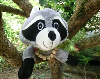 Personalized cute musical racoon with music box handmade racoon plush toy  nursery gift idea
