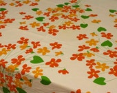 Vintage Vera Neumann Tablecloth Floral White Red Orange Green