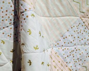 Modern Pink White Metallic Gold Glitzy Baby Girl Patchwork Quilt  Arrows Birds Chevron