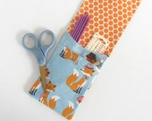 Mr. Fox Knitting Needle Case, 8.5 inch Storage Case for DPN and Circular Needles