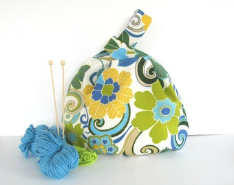 Knitting Project Bag Large Knitting Bag, Summer Handbag, Diaper Tote Bag - Yellow Turquoise Flowers