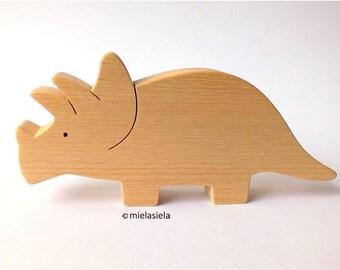 Handmade wooden toy Dinosaur - Triceratops